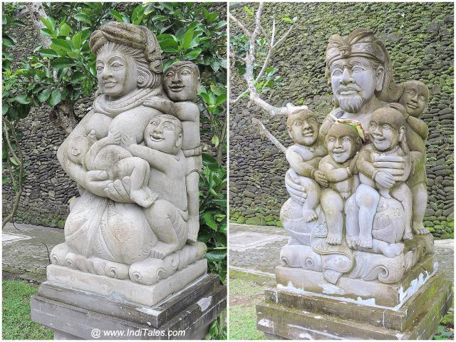 पुरा तीर्थ एम्पुल के बाहर परिवार प्रतिमाएं - इंडोनेशिया के जल मंदिर