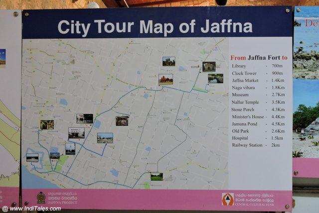 जाफना का पर्यटन मानचित्र
