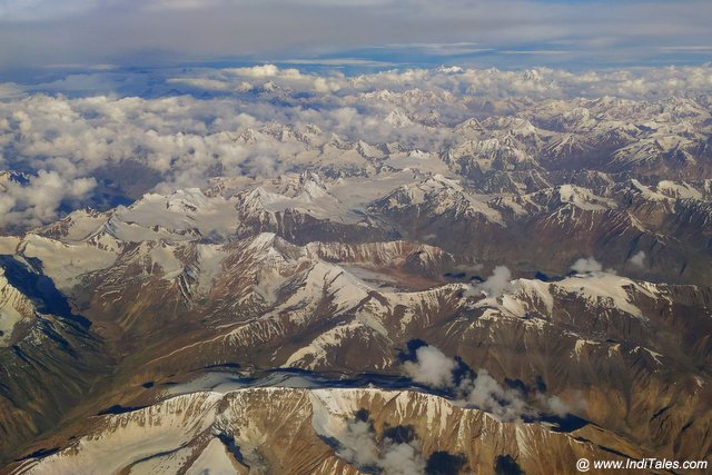 Aerial view of snow-clad Himalayan mountains at Ladakh, India