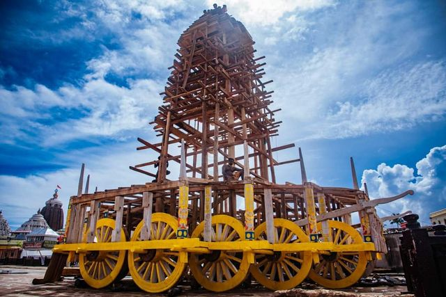 Construction of a chariot for a rath yatra