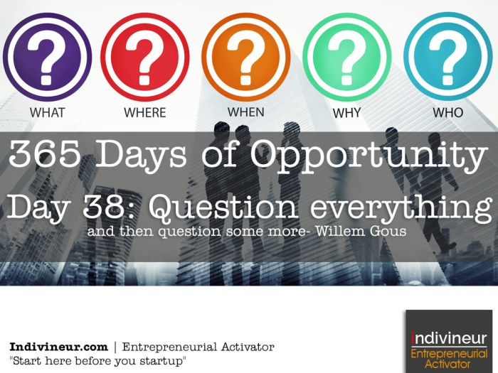 Day 38 motivational quotes: Question everything and then question some more