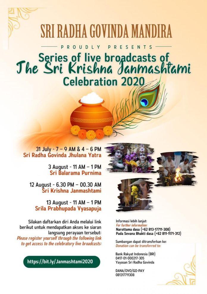 INVITATION TO SRI KRISHNA JANMASHTAMI FESTIVAL 2020