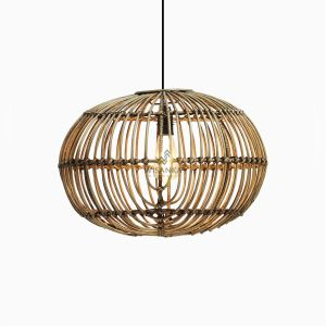 Sommerset Medium Brown Wash Hanging Lamp - Natural Rattan Pendant Lamp On