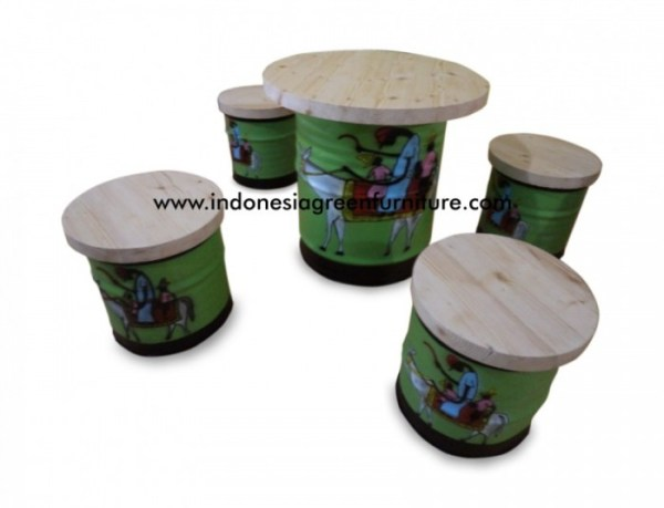 Scania Table Drum Reclaimed Pine