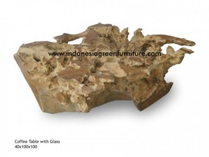 coffee table with glass reclaimed teak root