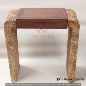 Aqua Wicker Console Table
