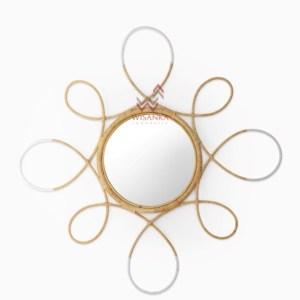 Finian Rattan Mirror in White