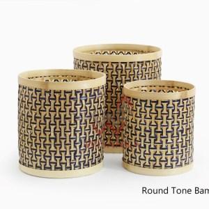 Round Tone Set of 3 Bamboo Basket