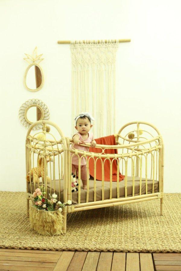 Rainbow rattan baby cot
