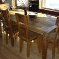 Reclaimed teak wood dining table and chairs set dining room furniture