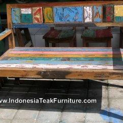 Wooden Bar Stool Chairs 3 Position Full Recline Lift Chair Bb1-26 Reclaimed Old Boat Furniture Bali