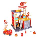 Fire Station Toy For Boys & Girls – Fire House Toy Story Box Playset – Wooden Toys For Toddlers & Kids – Station, Firetruck, Firemen & Accessories