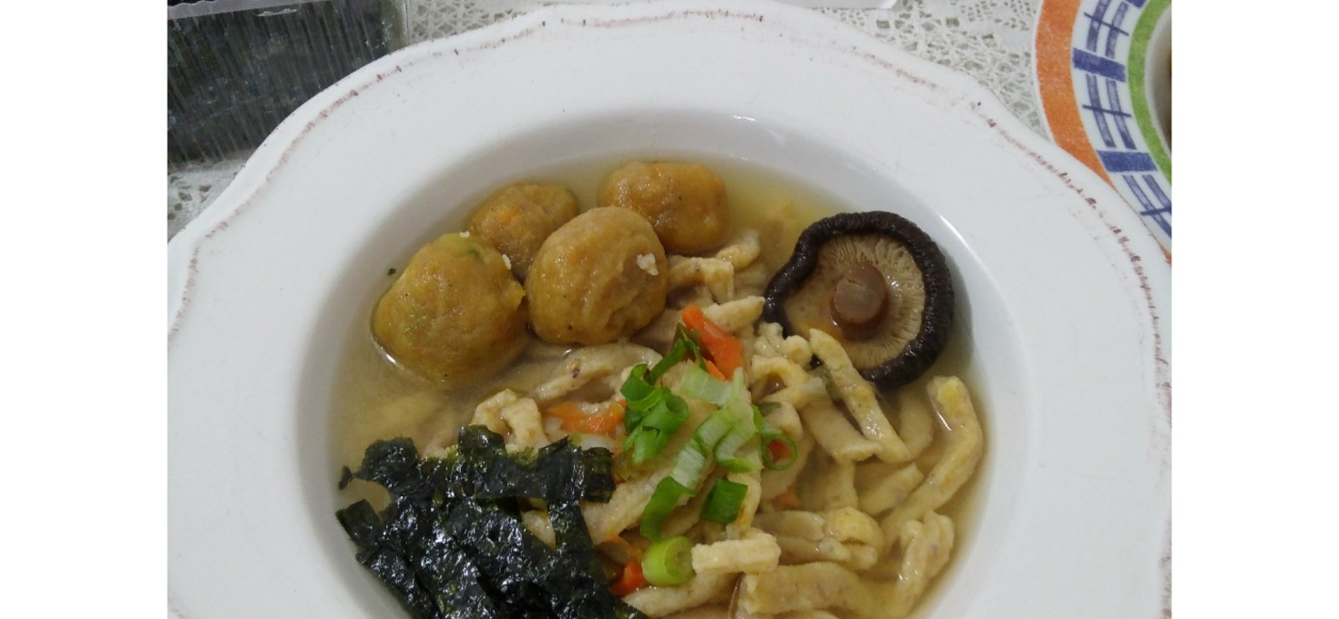 Meatballs Soup with Homemade Noodle From Scratch