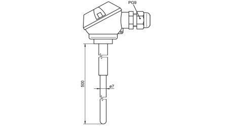 Insertable Sensor PtRh-Pt (S) With Terminal Head
