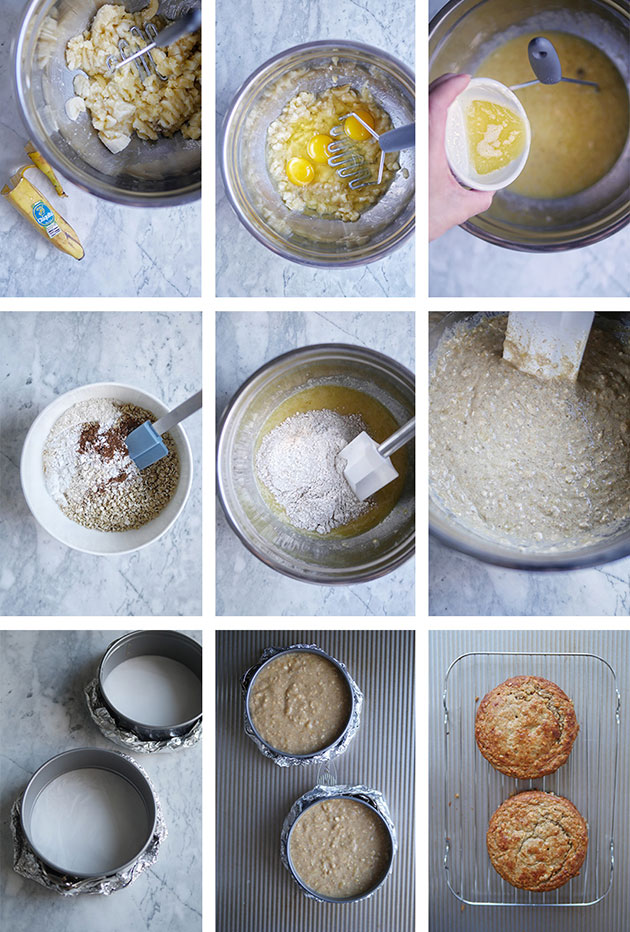 Step by step photos of baking the healthy banana oat cake.