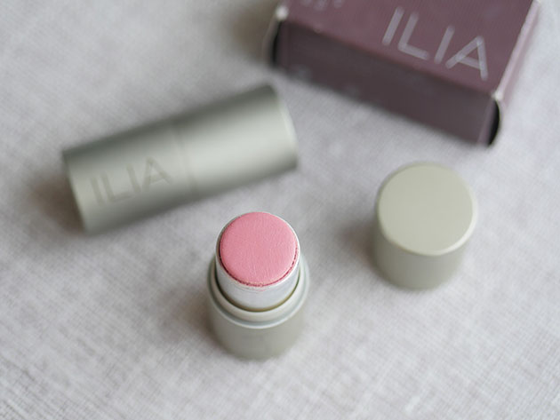 Clean creamy stick blush by Ilia shown with box, part of a collection of safer products for fertility and pregnancy.