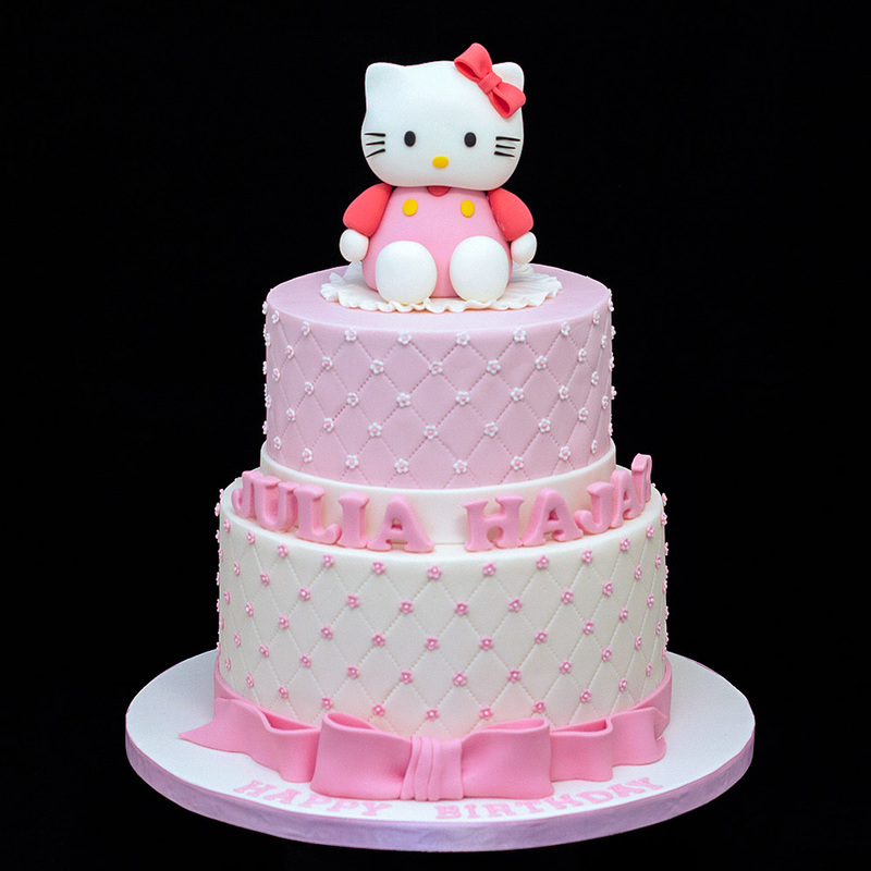 Celebration Cakes Custom Design 2 Tiers 3d Hello Kitty Birthday Cake Indulgingbites Personalised Cakes Cupcakes