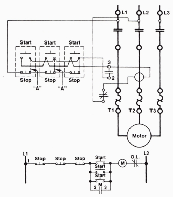 start stop wiring diagram 3 way lighting switch a three wire circuit with multiple push buttons