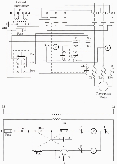 wiring diagram reversing circuit block reduction examples and solutions reverse motor starters