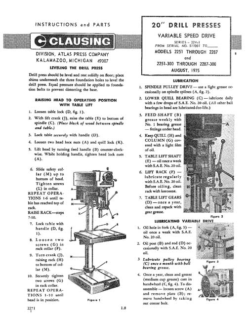 Clausing Drill Press Parts Manual