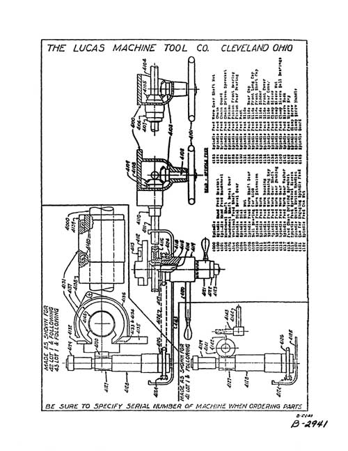Lucas No. 41 Boring Mill Parts Manual, Industrial Library