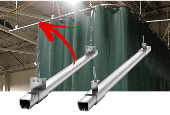 suspended curtain track system