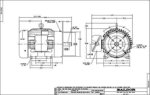 Baldor Electric CM3774T, 10 Hp, 1800 Rpm, 215TC FR, 230