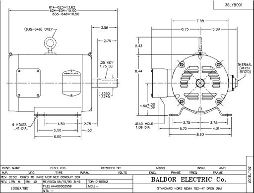 Baldor Electric EM3216T, 1 Hp, 900 Rpm, 182T FR, 230/460