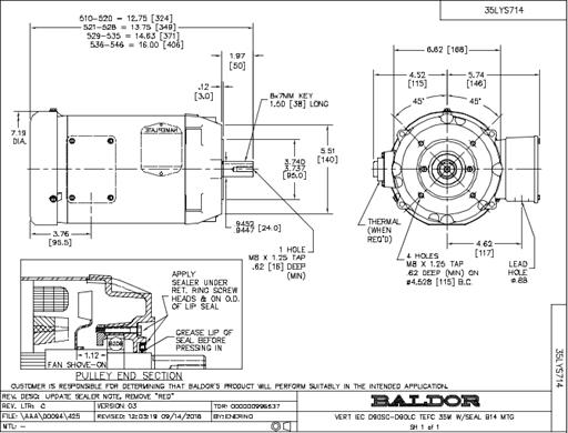 Baldor Electric EMVM3559C 2.2 KW / 3.0 Hp, 3600 Rpm, D90L