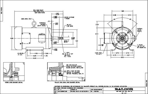 Baldor Electric JMEWDM3616T, 7 1/2 Hp, 3600 Rpm, 184JM FR
