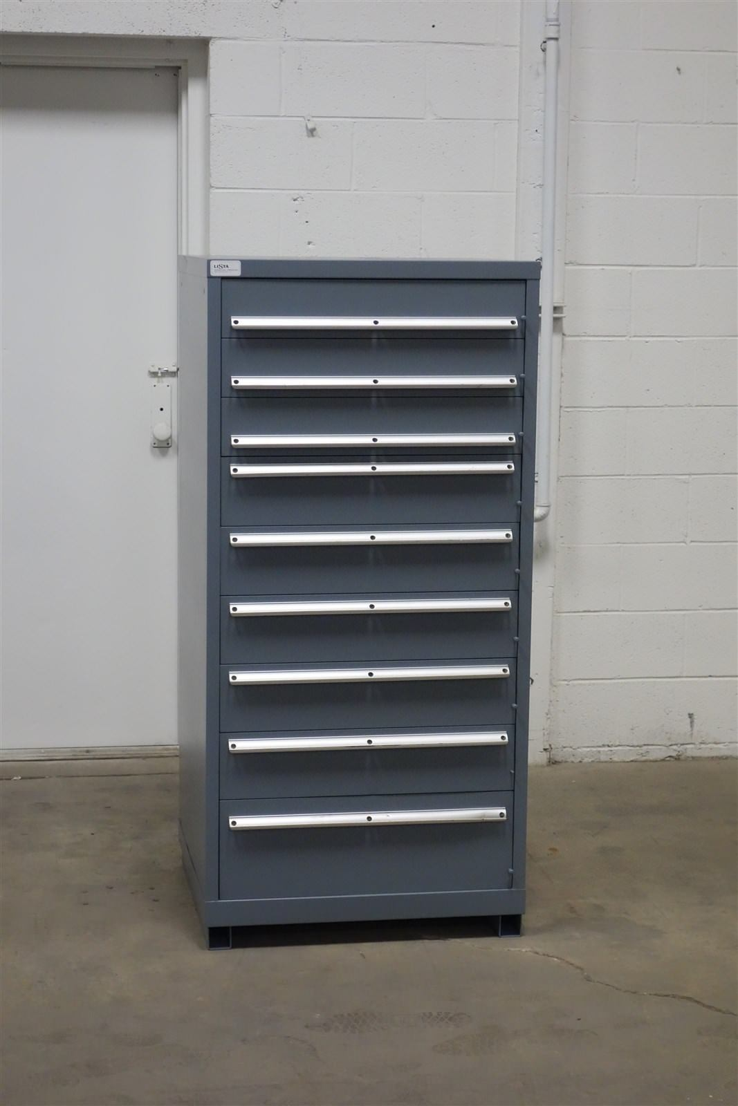 Used Lista 9 drawer cabinet industrial tool parts storage