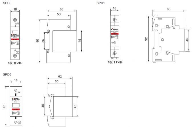 SPD Surge Protection Unit Mini Circuit Breaker for D Grade