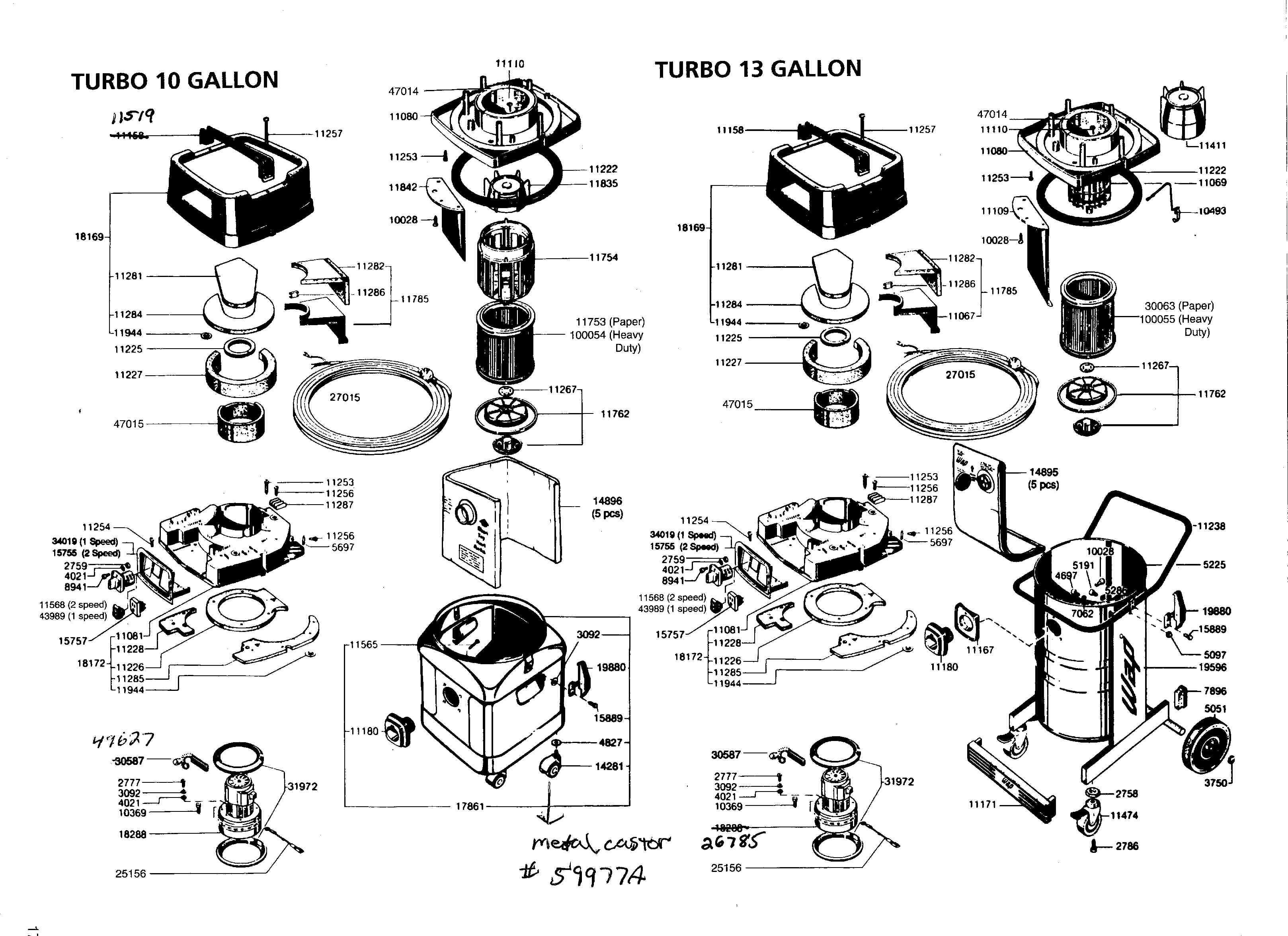 Turbo Vacuum Parts & Accessories Diagram