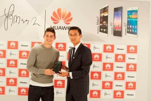 James Rodriguez, Embajador de Marca de Huawei Colombia, Cheyewei, Country Manager de Terminales de Huawei Colombia.
