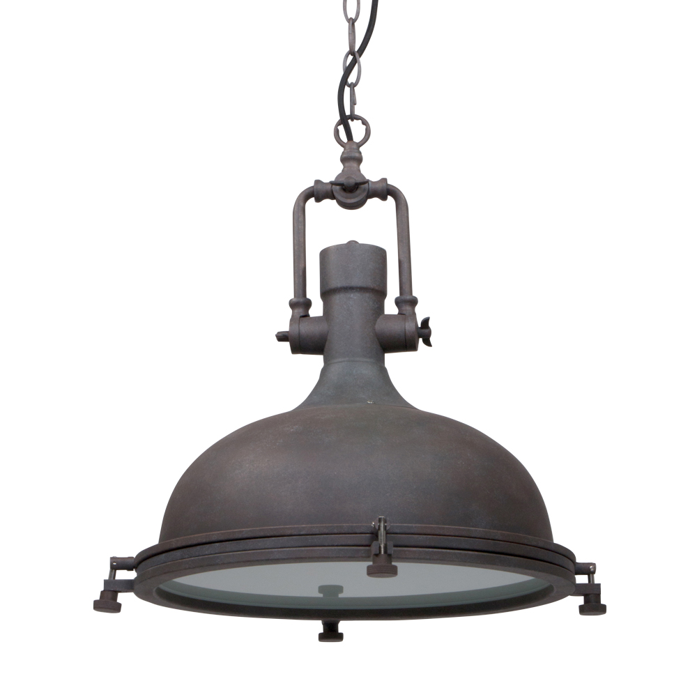 Stoere hanglamp Elmo bruin 40 cm Industriele lampen online