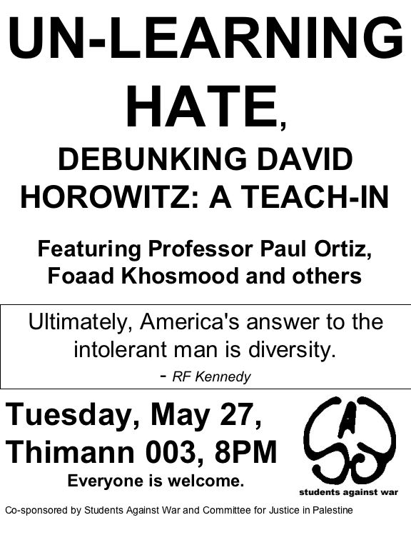 Unlearning Hate, Debunking David Horowitz: A Teach-In