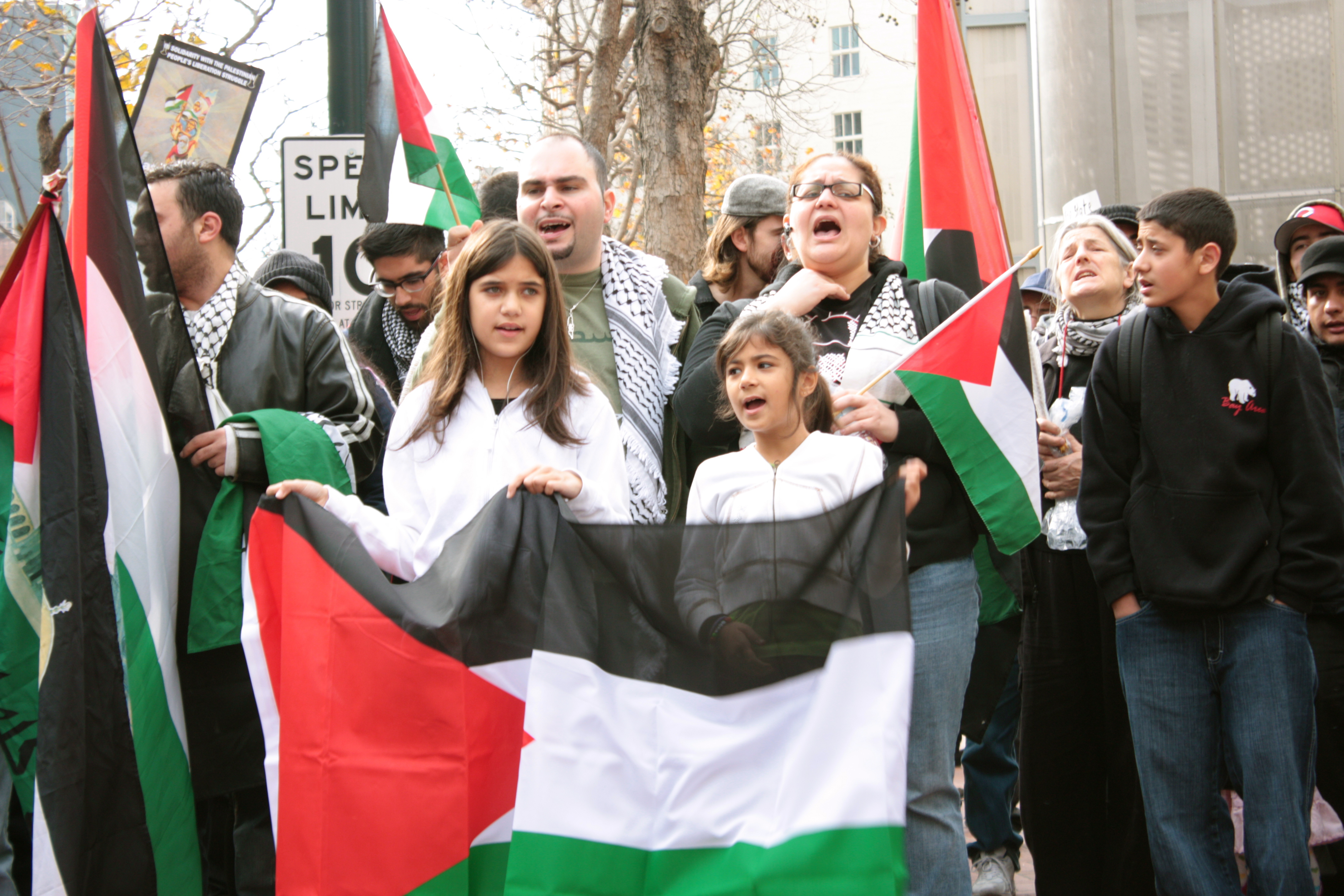 A solidarity with Gaza rally in San Francisco on the corner of Market and Powell St. which I attended.  Photo by Uda Olabarria Walker