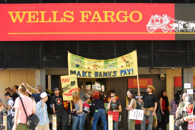 Wells Fargo blockaded.