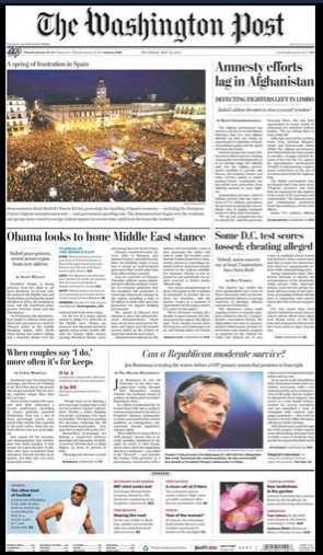 #SpanishRevolution is Washington Post front page news
