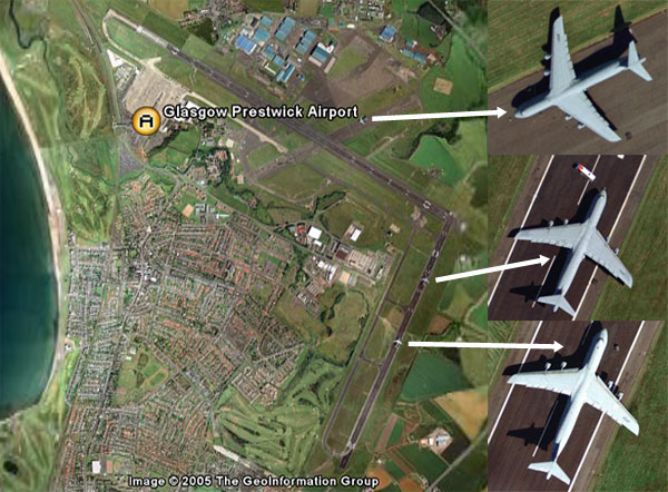 US Rendition Flights shown by Google Earth.