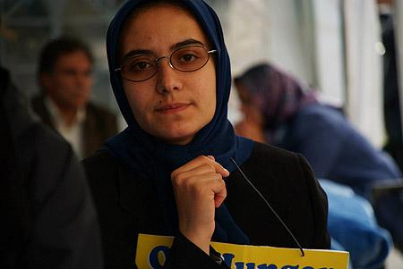 A femal muslim hunger striker.