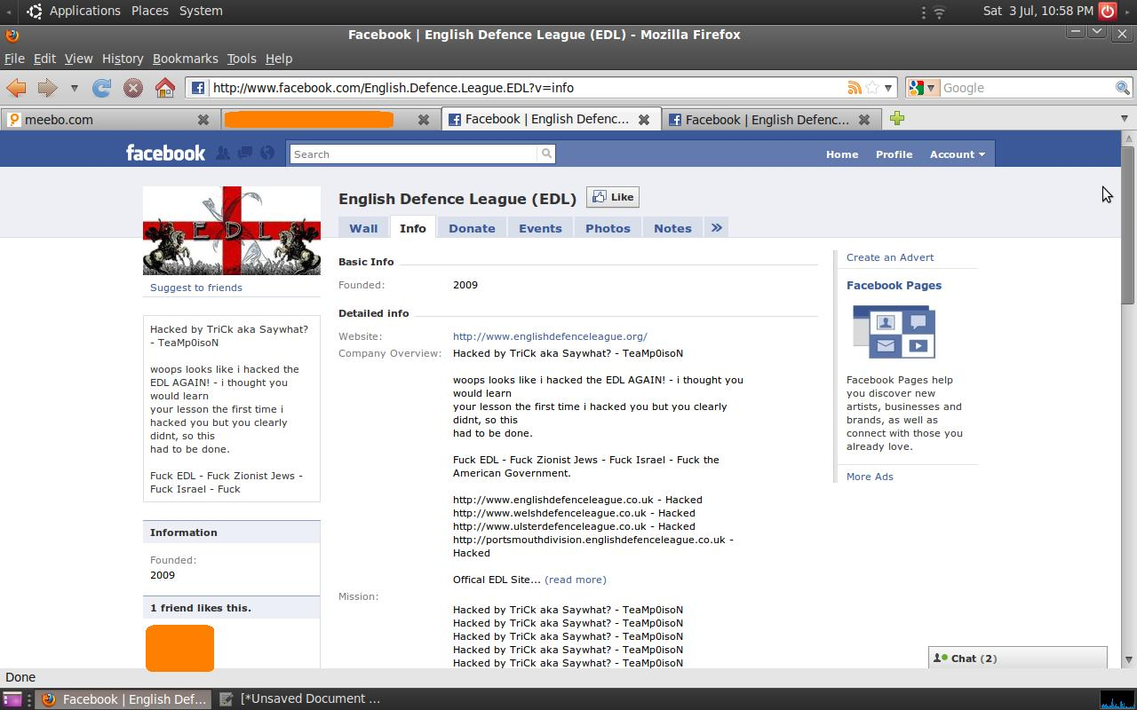 English Defence League Facebook Hacked