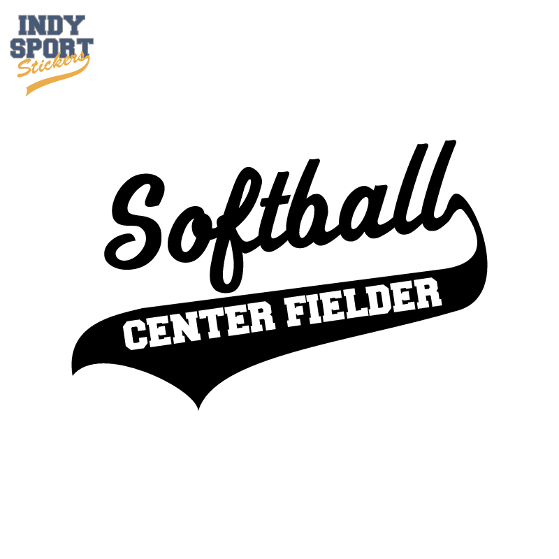 Softball Script Text and Tail with Center Fielder Text
