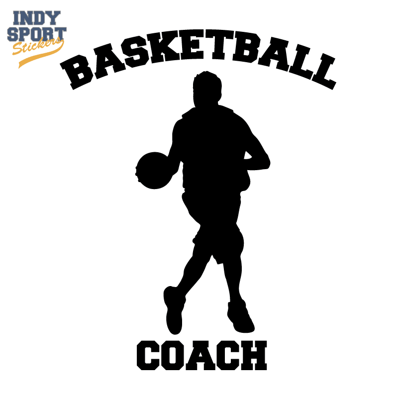 Basketball Silhouette Player with Basketball Coach Text