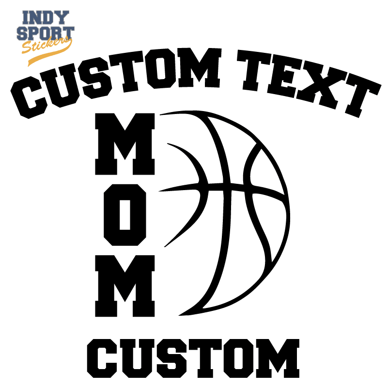 Basketball Mom Vertical Text with Basketball Design Decal
