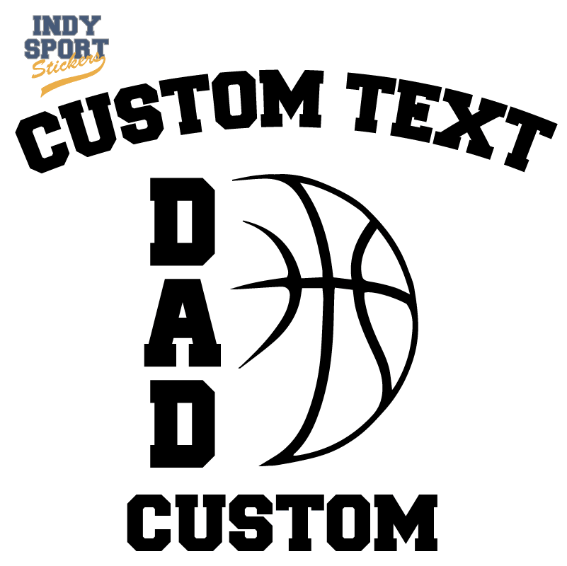 Basketball Dad Vertical Text with Basketball Design Decal