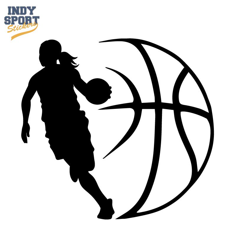 Basketball Player Girl Silhouette with Ball Design Decal