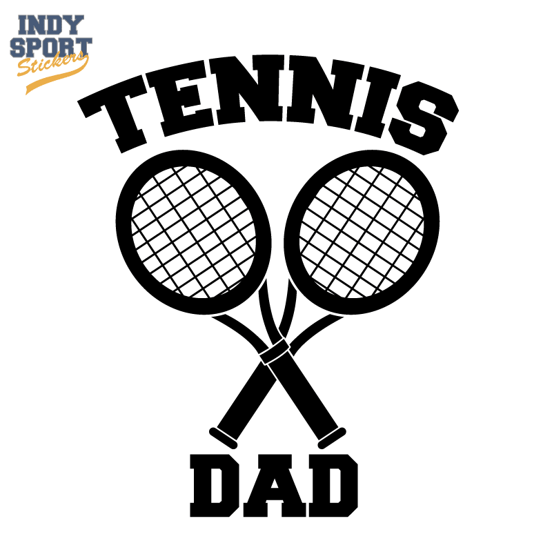 Dual Tennis Racquets Crossed with Tennis Dad Text Decal
