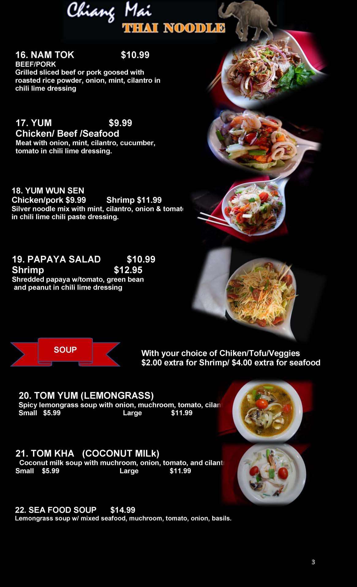 Menu  Chiang Mai Thai Noodle