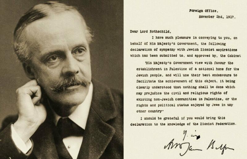 İngiltere Dışişleri Bakanı Arthur J. Balfour ve Yahudi devleti kurulmasına ilişkin bildirgesi.jpg